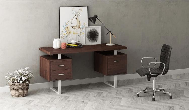Ryan 3-Drawer office Desk with Metallic Legs